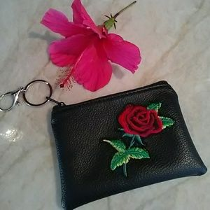Black Wristlet Key Chain Pouch ROSE Embroidered